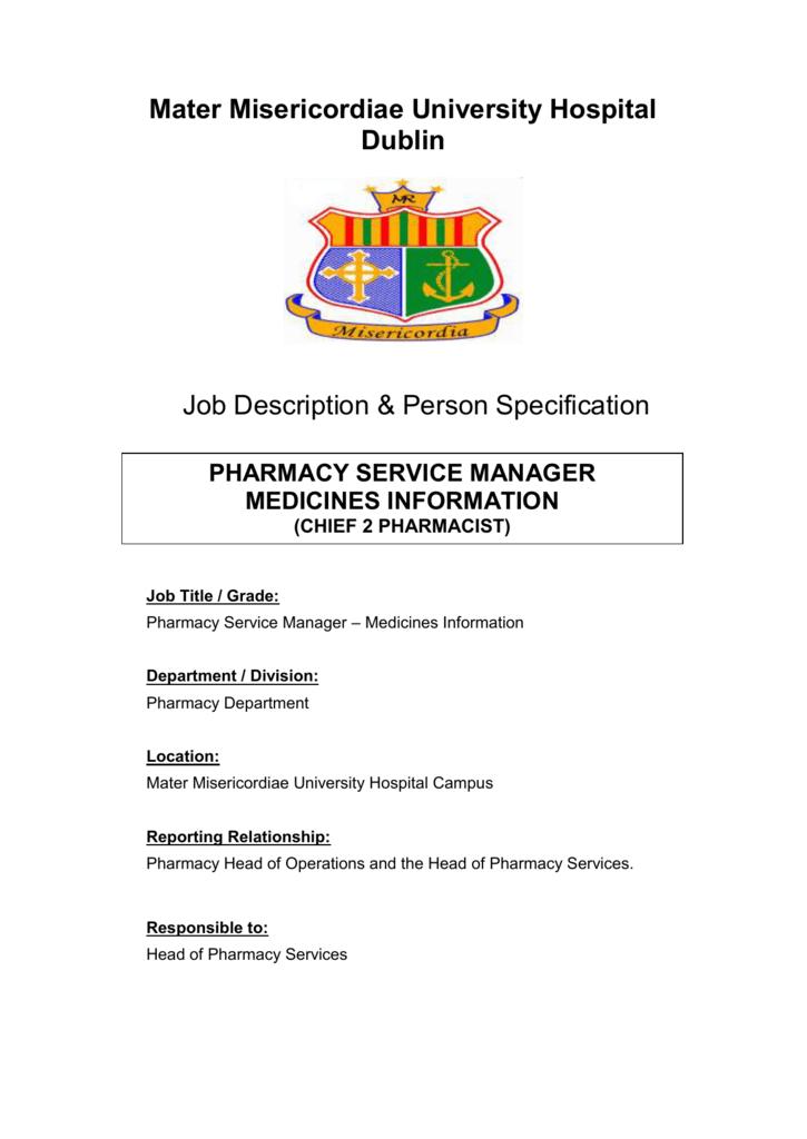 Pharmacy Service Manager - Mater Misericordiae University