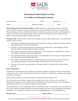 Individualized School Health Care Plan – SADS