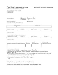 a Contractor`s License Bond Application