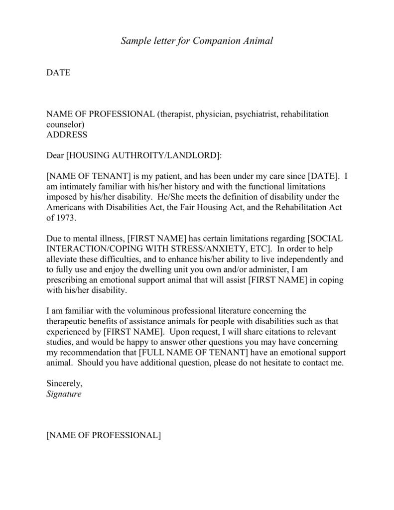 Sample letter for Companion Animal