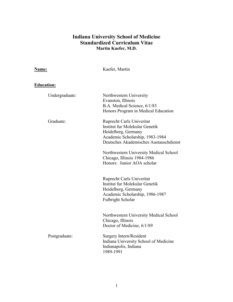 C V  5/4/98 - Indiana University Department of Urology