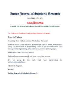 Indian Journal Of Scholarly Research