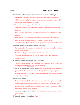 Weathering & Soil Formation SG Answer Key