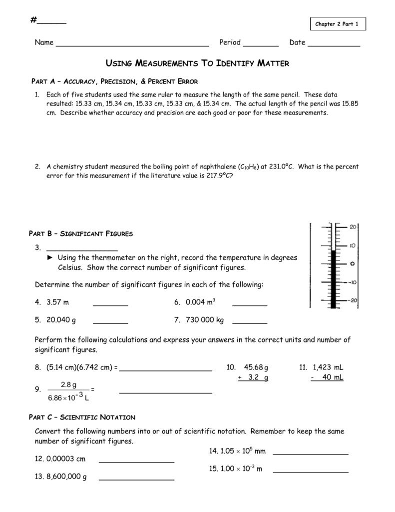 Using Measurements Worksheet For Percent Error Worksheet Answer Key