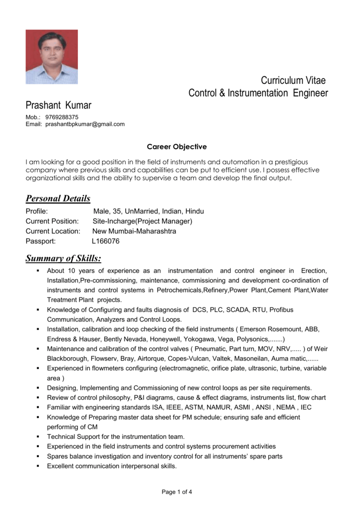 instrumentation engineer resume