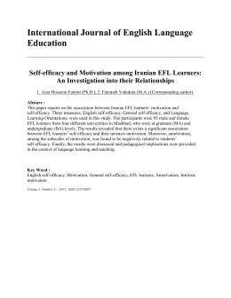Self-efficacy and Motivation among Iranian EFL