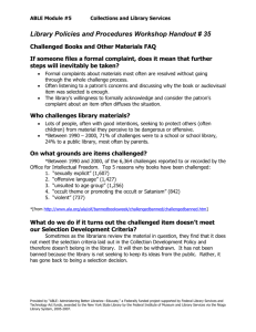 Challenged Books and Other Materials FAQ