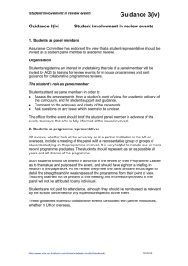 Guidance 3(iv) - Student involvement in review events