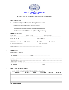 Application Form for the 2014/2015 Academic year