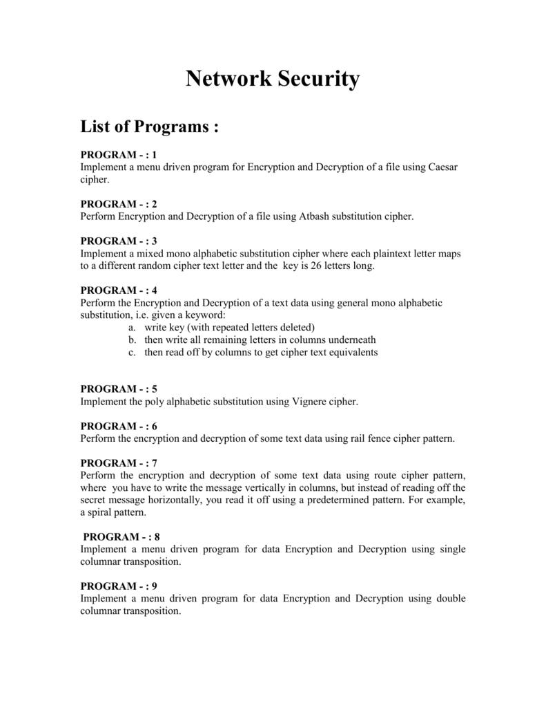 List of Program