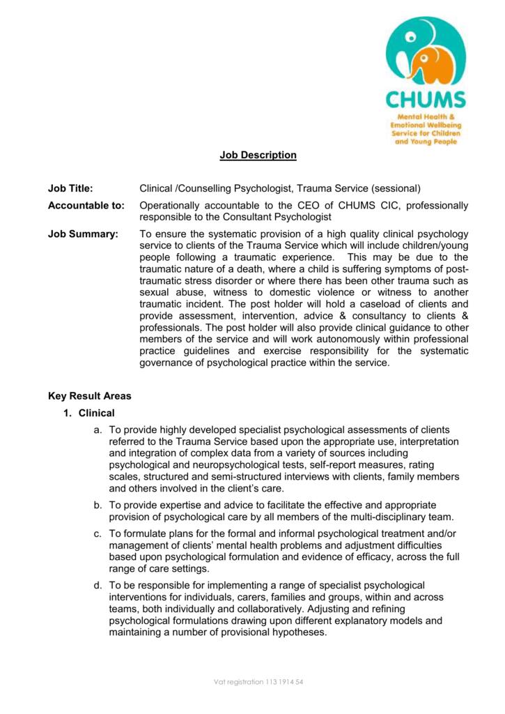 Trauma Psychologist Job Description Sessional