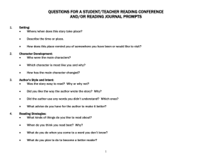 QUESTIONS FOR A STUDENT/TEACHER READING CONFERENCE