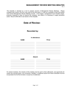 Management Review Meeting Minutes template