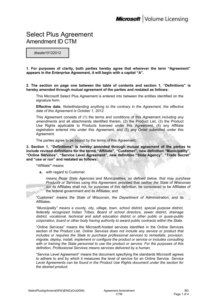 Microsoft Select Plus Agreement Amendmentterms