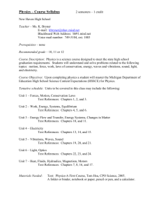 College Preparatory Physics – Course Syllabus