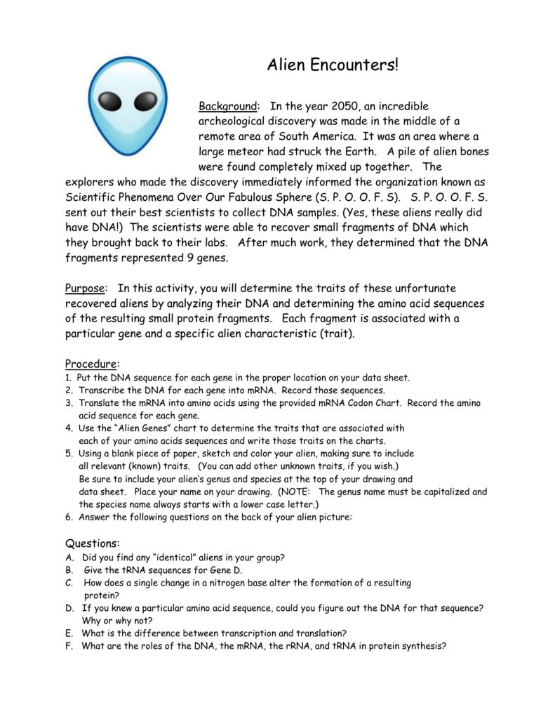 worksheet Alien Encounters Worksheet alien encounters student copies