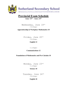 Provincial Exam Schedule