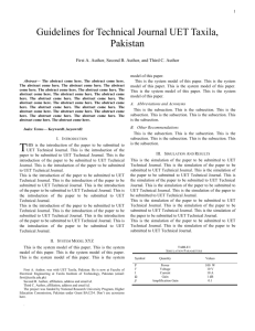 Paper Format - University of Engineering and Technology, Taxila