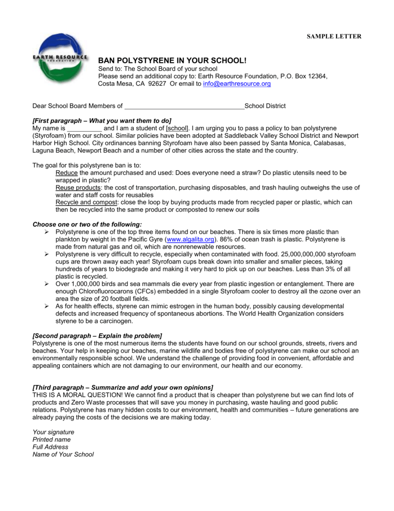 SAMPLE LETTER - Earth Resource Foundation