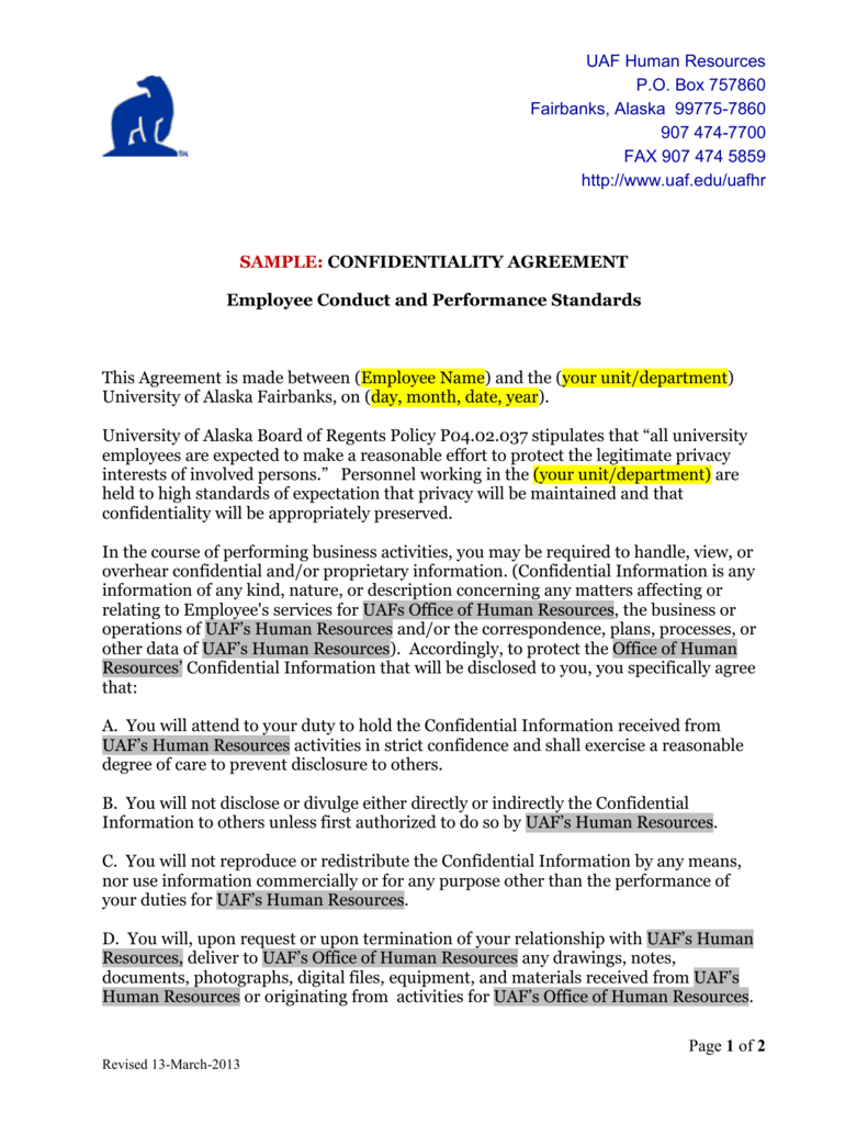 UAF HR Confidentiality Agreement -- Template