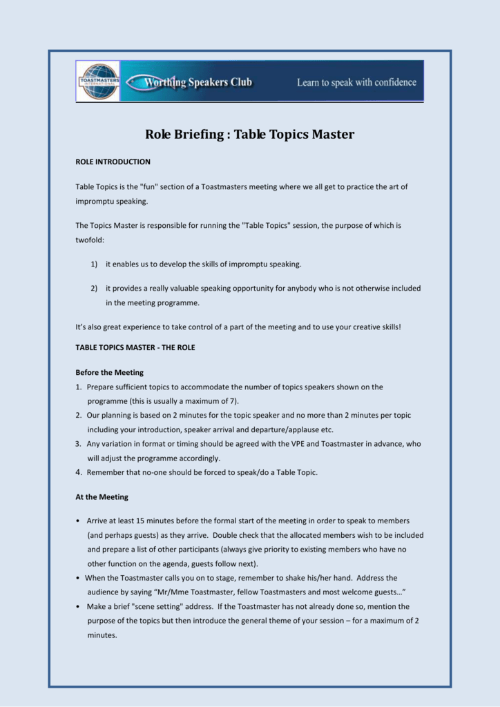 Table Topics Master Role Briefing