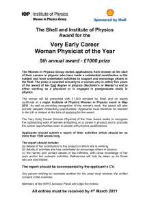 b27e7296d7b The Shell and Institute of Physics Award for the Very Early Career