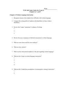 TLSE 440: Study Guide (for Exam 3)