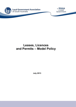 Lease, Licence and Permit Policy for