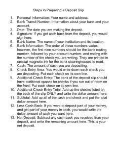 Steps in Preparing a Deposit Slip