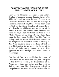 priests of moses versus the royal priests of god, our father