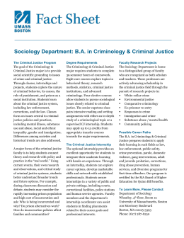 Criminology and Criminal Justice Major Fact Sheet