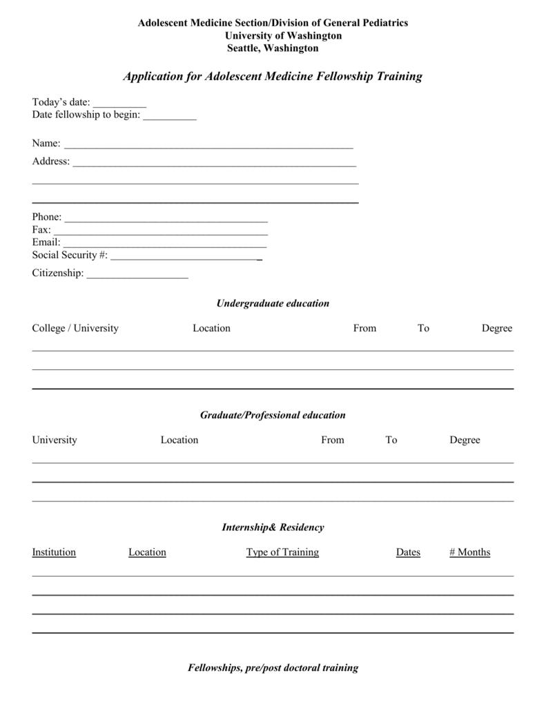 Adolescent Medicine Fellowship Application Form