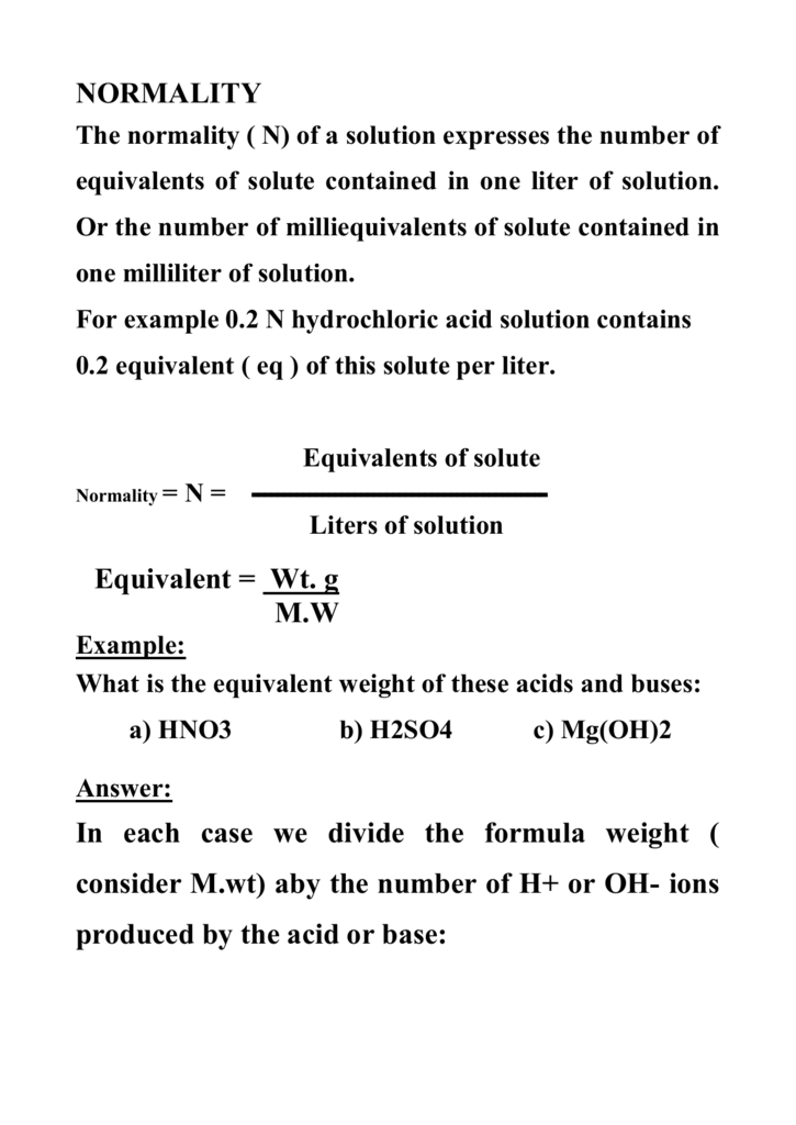 Normality The N Of A Solution Expresses Number Equivalents Solute Contained In One Liter