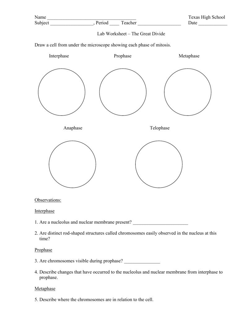 Lab Worksheet The Great Divide