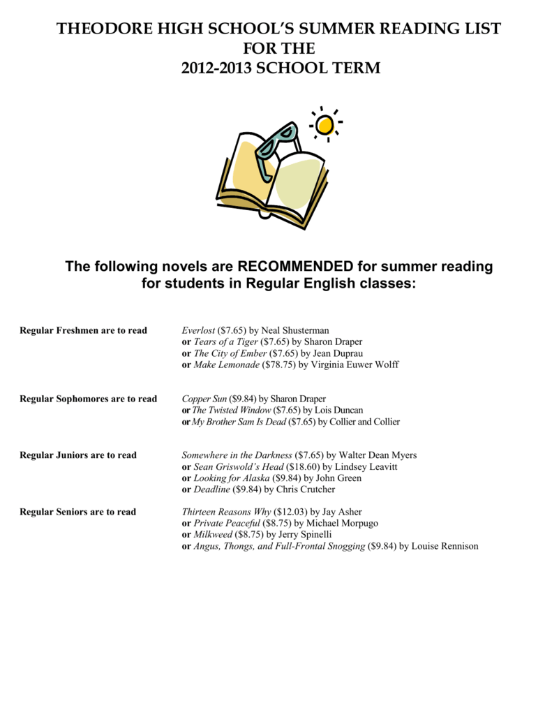 THEODORE HIGH SCHOOL`S SUMMER READING LIST FOR THE