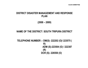 DISTRICT DISASTER MANAGEMENT PLAN (I)