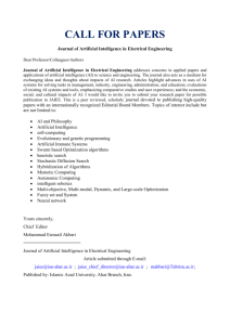 CALL FOR PAPERS Journal of Artificial Intelligence in Electrical