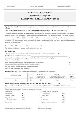 Chemical hazard risk assessment form for Chemical risk assessment template