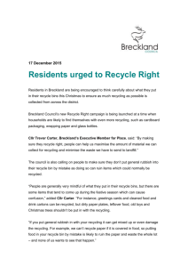 17 December 2015 Residents urged to Recycle Right Residents in