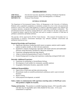 Post-doctoral Associate, Quantitative Modeling of