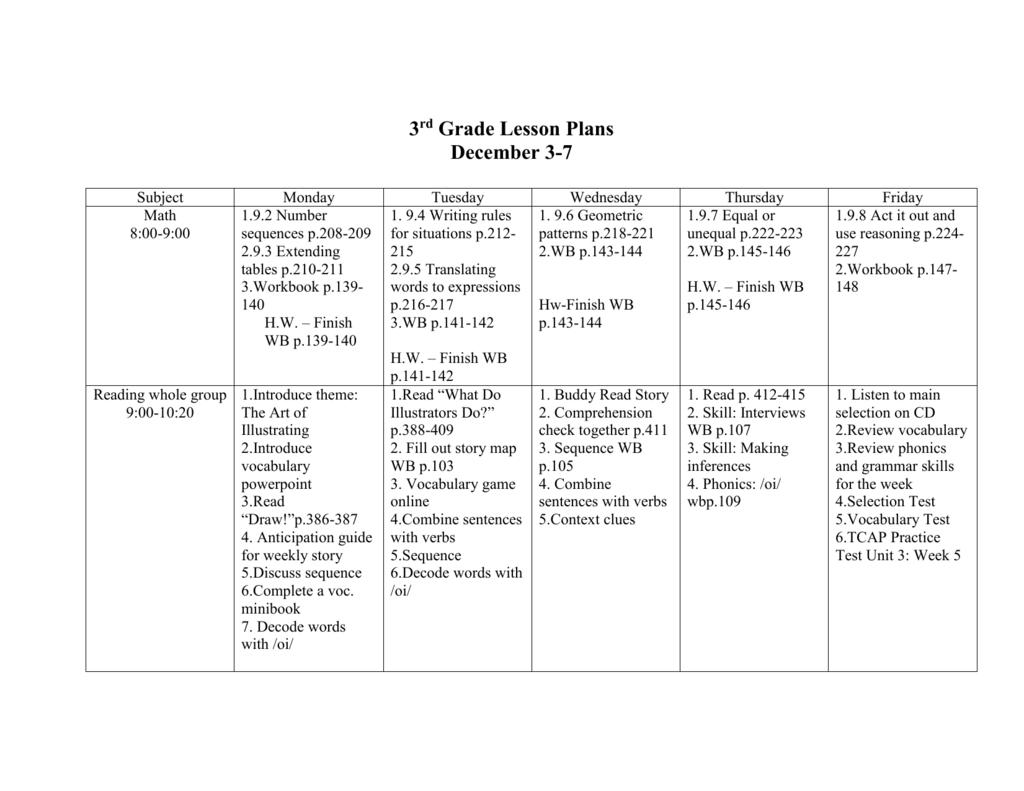 3rd Grade Lesson Plans