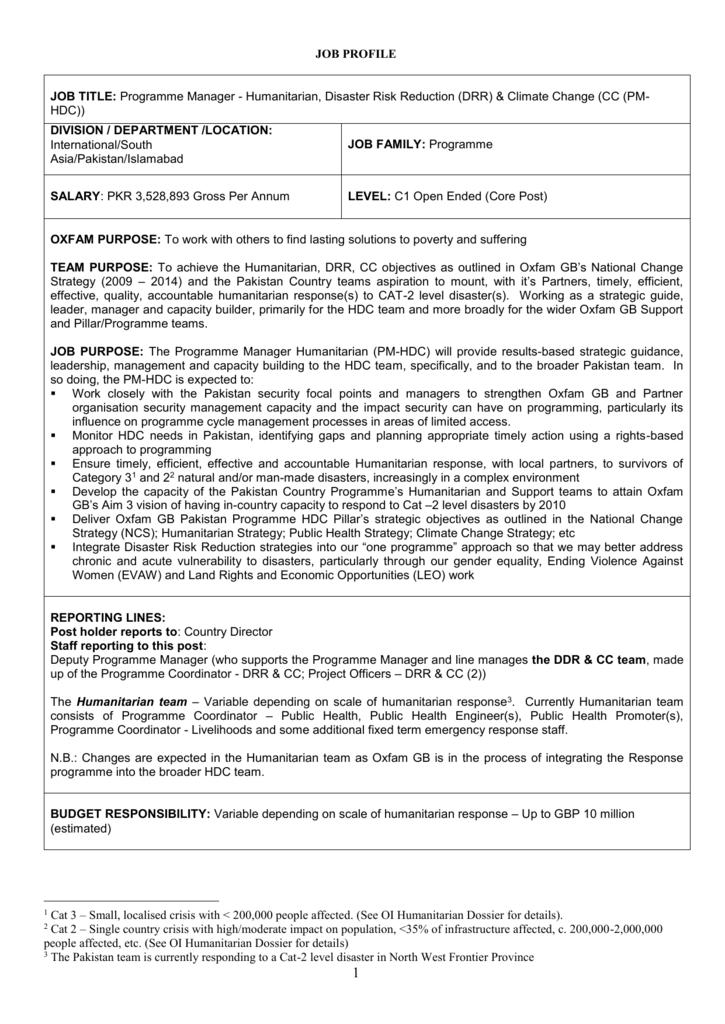JOB TITLE: Programme Manager Humanitarian