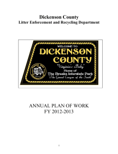 Dickenson County`s 2012-2013 Plan of Work