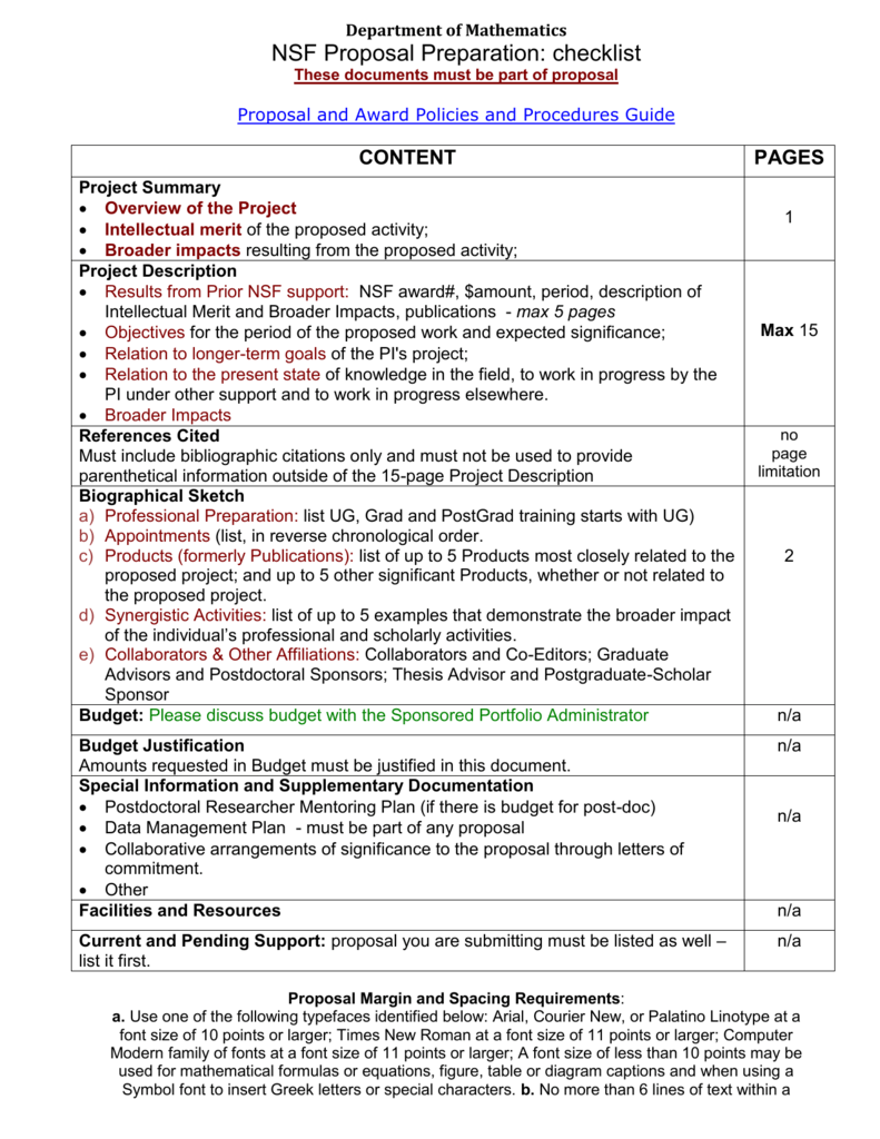 Department of Mathematics NSF Proposal Preparation: checklist