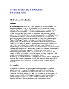Mental Illness and Employment Discrimination