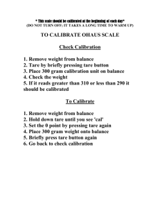 Calibration of Ohaus scale