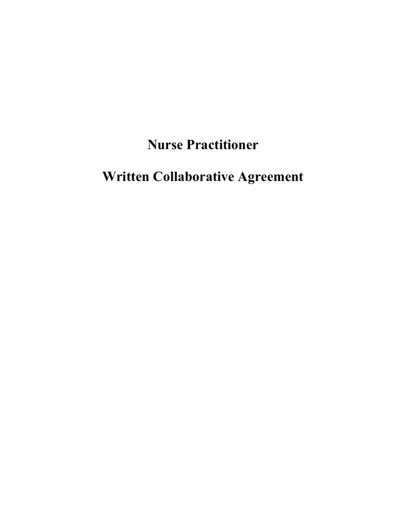Nurse Practitioner Collaborative Agreement