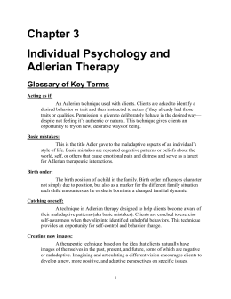 Chapter 3 Individual Psychology and Adlerian Therapy Glossary of