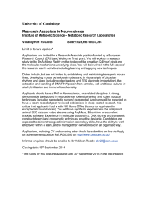 RESEARCH ASSOCIATE - MRL - University of Cambridge