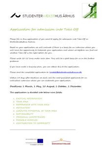 Application for admission into Take Off
